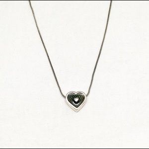 Jewelry - Vintage Green & Silver Heart Necklace